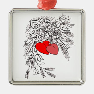 Zwei Herzen 2 Silbernes Ornament