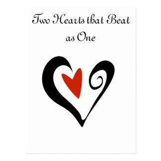 Zwei Herzen, die als eins schlugen Postkarte