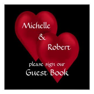 Zwei Herzen ein Liebe-Wedding Gast-Buch-Plakat Perfektes Poster