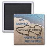 Zwei Herzen im Sand-Save the Date Magneten