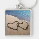 Zwei Herzen in der Sand-Liebe-Schlüsselkette
