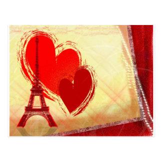 Zwei Herzen in Paris Postkarte