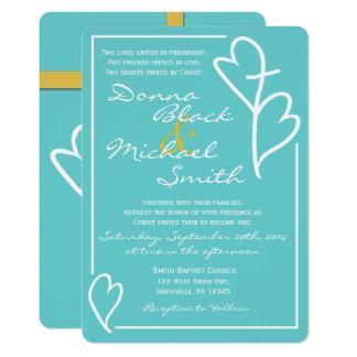 Zwei Herzen kreuzen religiöse Hochzeits-Einladung 12,7 X 17,8 Cm Einladungskarte