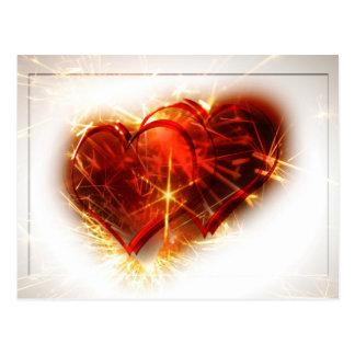 Zwei Herzen mit Feuerwerken Postkarte