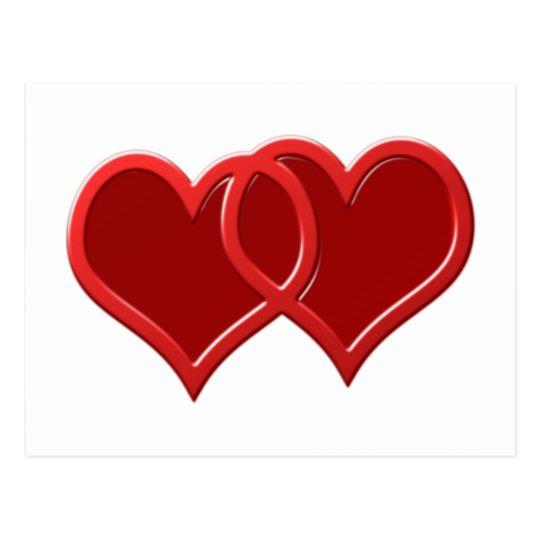 Zwei Herzen two hearts Postkarte