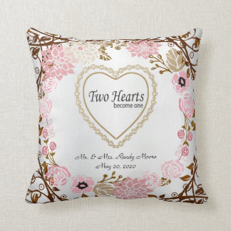 Zwei Herzen werden ein Wedding Vintager Wreath Kissen