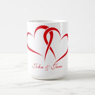 Zwei Herzen zusammen Kaffeetasse
