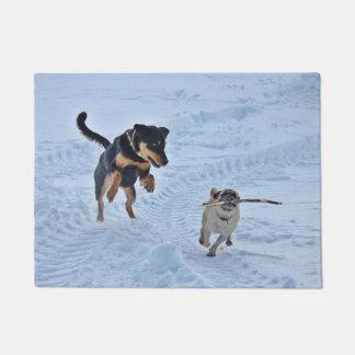 Zwei Hunde, die in der Schnee-Tür-Matte spielen Türmatte
