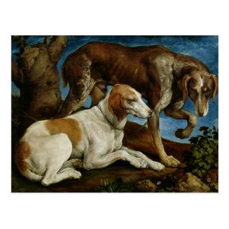 Zwei Jagd-Hunde gebunden an einem Baum-Stumpf, Postkarte