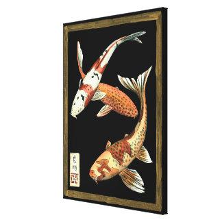 Zwei Japaner Koi Goldfisch auf schwarzem Leinwanddruck