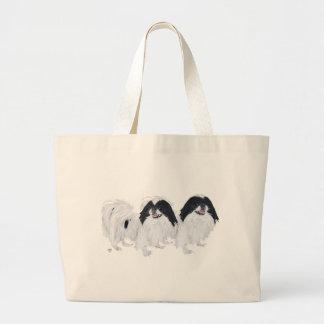 Zwei Japanerchin-Hunde Jumbo Stoffbeutel