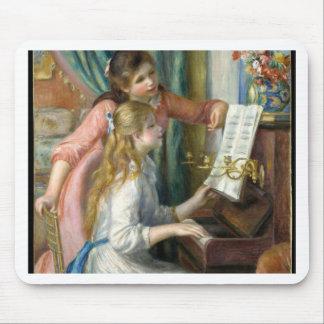 Zwei junge Mädchen am Klavier - Renior Mousepad