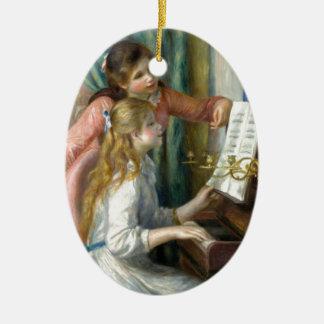 Zwei junge Mädchen am Klavier - Renior Ovales Keramik Ornament