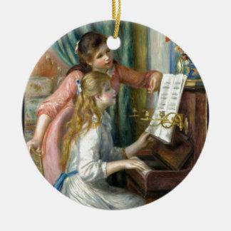 Zwei junge Mädchen am Klavier - Renior Rundes Keramik Ornament