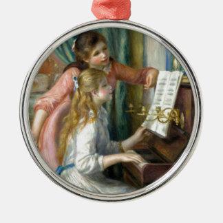 Zwei junge Mädchen am Klavier - Renior Rundes Silberfarbenes Ornament