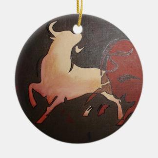 Zwei kämpfende Stiere Keramik Ornament