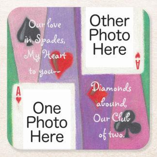 Zwei Karten in den Rechteckiger Pappuntersetzer