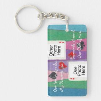 Zwei Karten in Liebe romantischem Rect Acryl Schlüsselanhänger