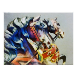 Zwei Karussell-Pferdenahaufnahme Poster