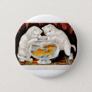 Zwei Kätzchen, das Vintages Bild fischt Runder Button 5,7 Cm