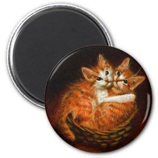 Zwei Kätzchen im Korb-Magneten Runder Magnet 5,7 Cm