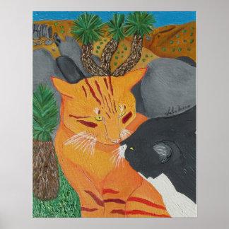Zwei Katzen, die an Joshua-Baum küssen Poster
