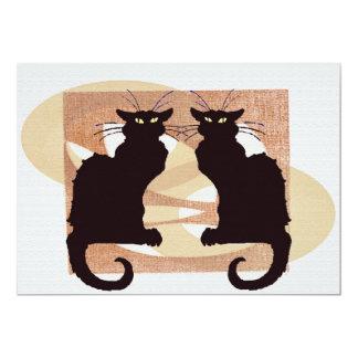 Zwei Katzen-Druck 12,7 X 17,8 Cm Einladungskarte