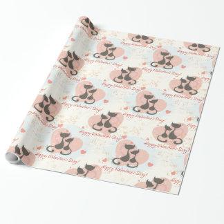 Zwei Katzen im Verpackungs-Papier Liebevalentines Geschenkpapier