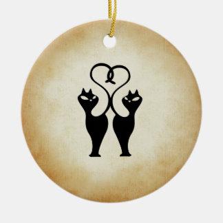Zwei Katzen-Silhouette Keramik Ornament