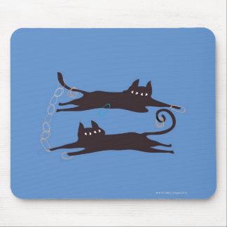 Zwei Katzen-Spielen Mousepad