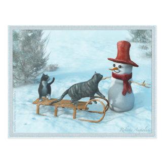 Zwei Katzen und eine Schneemann-Postkarte Postkarte