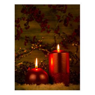 Zwei Kerzen Weihnachtsdekoration Postkarte