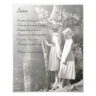 Zwei kleine Mädchen-Schwestern danken Ihnen Gedich Photographischer Druck