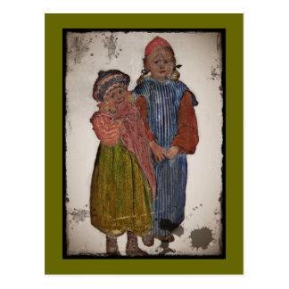 Zwei kleine Schwestern 1906 Postkarte