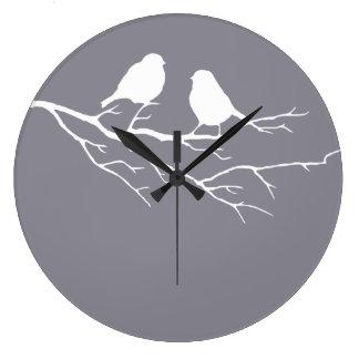 Zwei kleine Vogel-Oxford-Grau-Spatzen, Natur Große Wanduhr