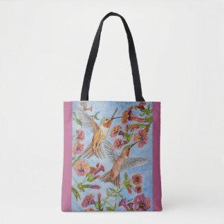 Zwei Kolibris und rote Hibiskuswatercolor-Tasche Tasche
