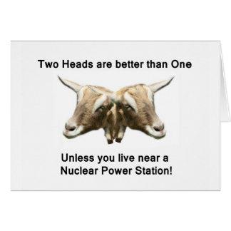 Zwei Kopf-Anti-Nukleares Logo Karte
