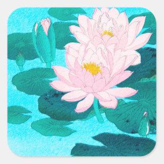 Zwei Lotos-Blumen Quadratischer Aufkleber