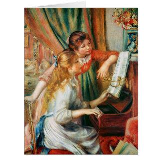 Zwei Mädchen am Klavier durch Renoir groß Karte