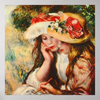 Zwei Mädchen, die in einer Garten Renoir schönen Poster