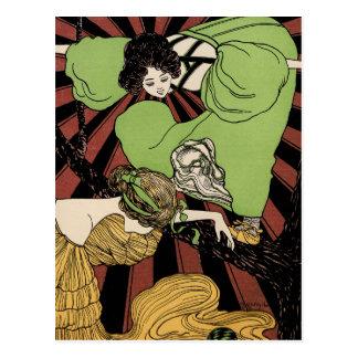Zwei Mädchen - Kunst Nouveau - Jugendstil Postkarte