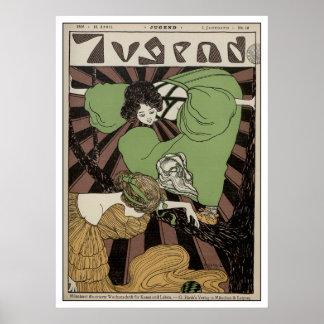 Zwei Mädchen - Kunst Nouveau Posterdrucke