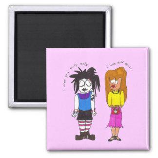 Zwei Mädchen Quadratischer Magnet