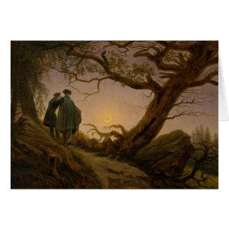Zwei Männer, die den Mond erwägen Karte