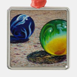 Zwei Marmore Silbernes Ornament