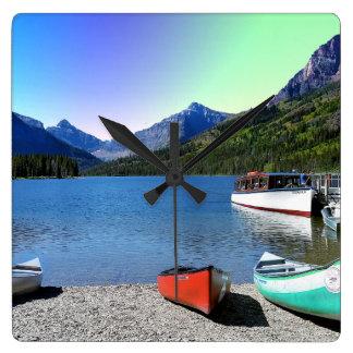 Zwei Medicine See Glacier Nationalpark Montana Quadratische Wanduhr