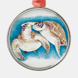 Zwei Meeresschildkröten Silbernes Ornament