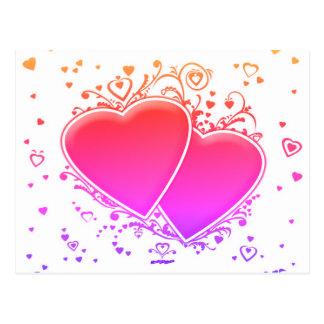 Zwei mehrfarbige Herzen Postkarte