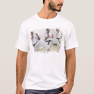 Zwei mittlere erwachsene Männer mit einem Üben des T-Shirt