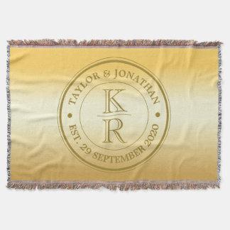 Zwei Nachname-Paar-Monogramm-GoldOmbre Hochzeit Decke